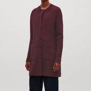 COS Jacquard Textured Knit Cardigan, Burgundy Med